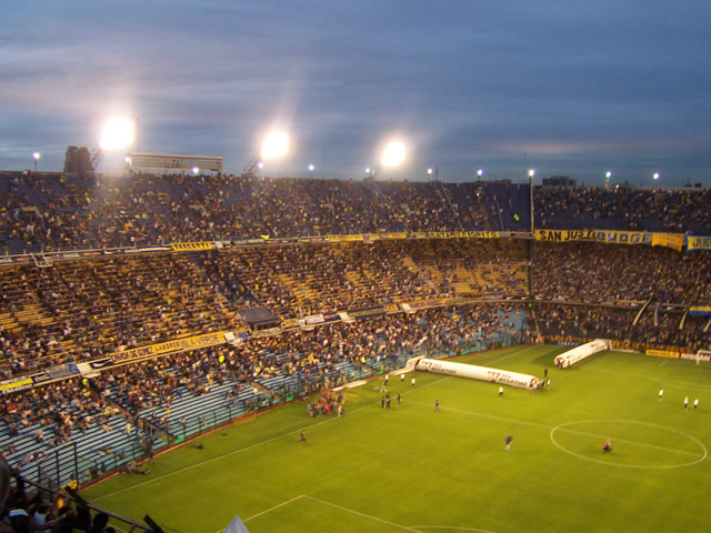 A soccer game at La Bombonera stadium in Buenos Aires.