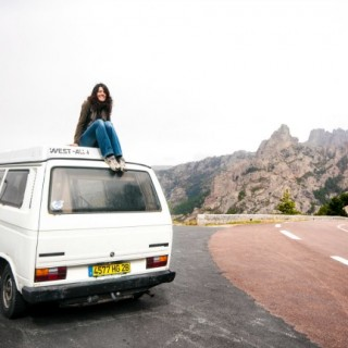 XB, horizontal, volkswagen, westfalia, camper, woman, girl, camping, car, Corsica, bavella, road, street, rest, area, traveling, travel, sitting, vacation