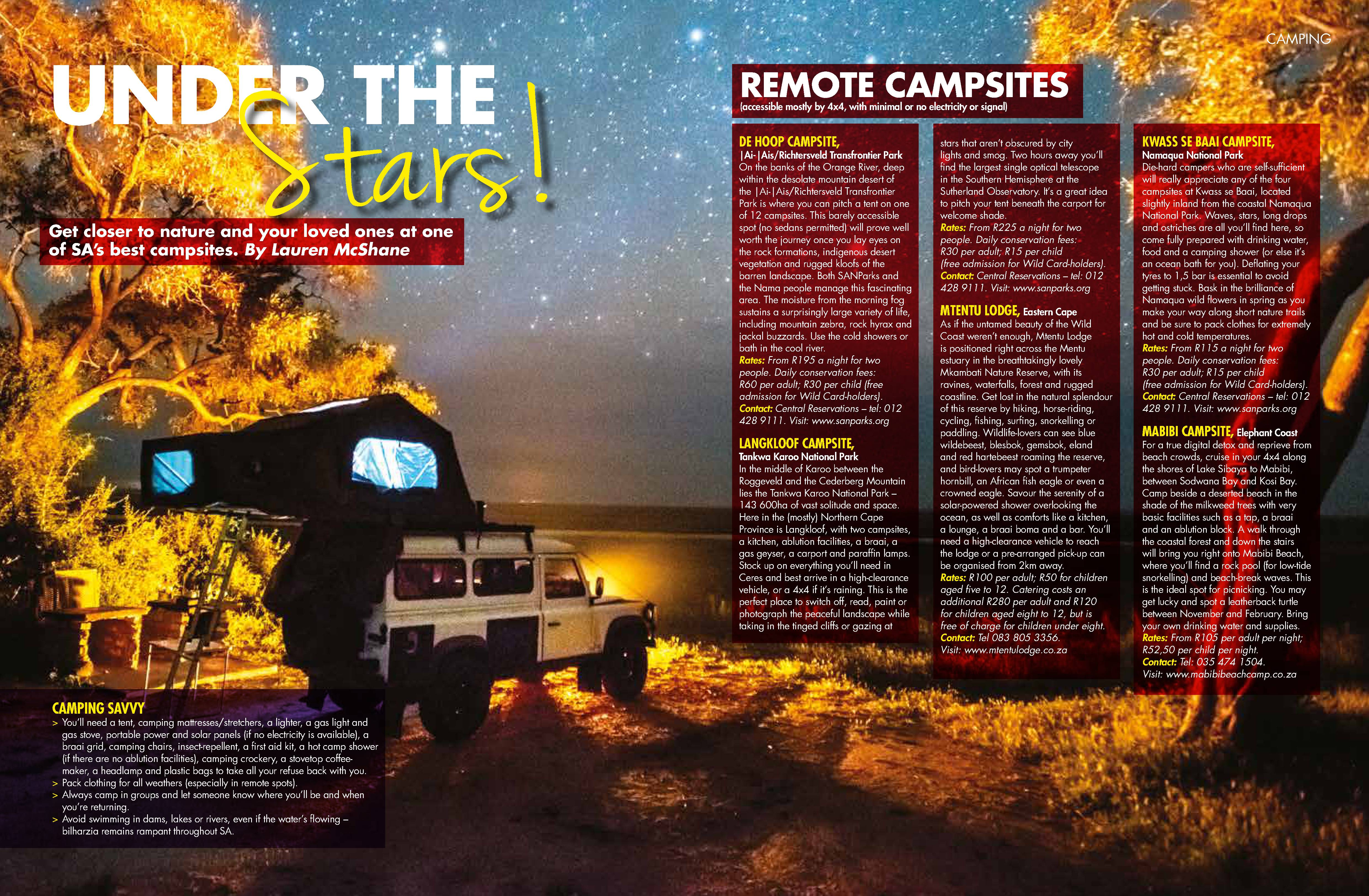 Top 10 South African Campsites