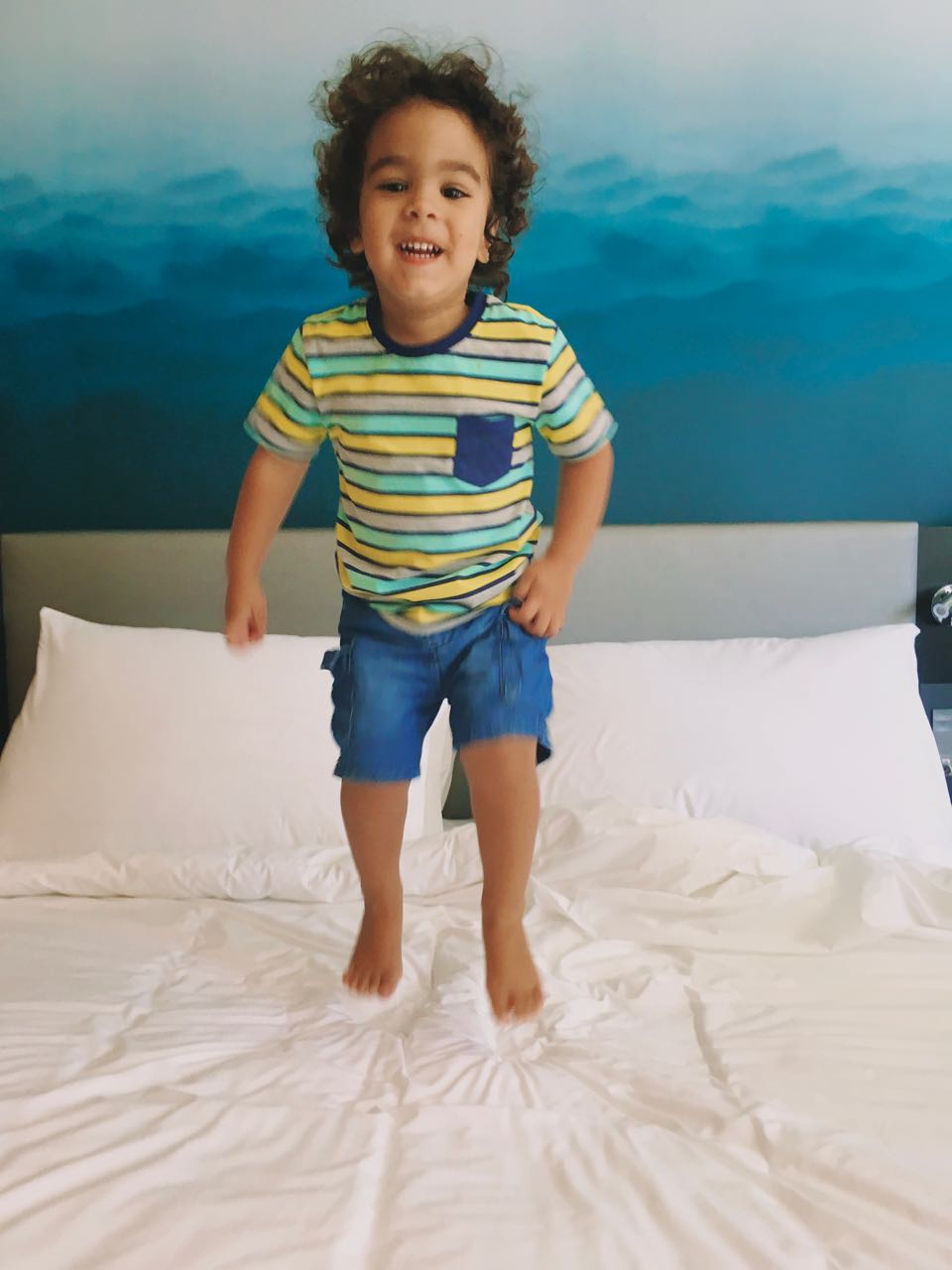 Caleb Jumping on the bed, Radisson Blu Hotel and Residence